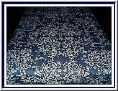 Gorgeous Crate & Barrel Blue Print Tablecloth With Roses & Other Flower Design