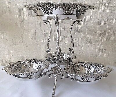 Ornate Victorian Antique Solid SILVER Table Centrepiece 1895 - Acorn Decoration