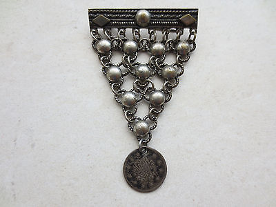 Gorgeous Antique VINTAGE ORNAMENT Pin Brooch with SILVER Coin 19th C. RARE