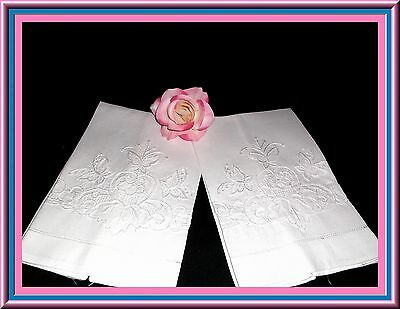 Gorgeous White On White Antique Embroidered Guest Towels With Punchwork