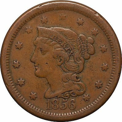 1856 Large One Cent Braided Hair Liberty Head
