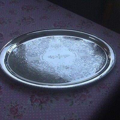 Vintage Large Oval Engraved Silver Plated Tray - Good Quality