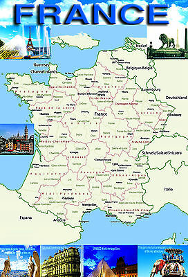 FRANCE Map Poster Wall chart - A3 size - educational- teaching - school type