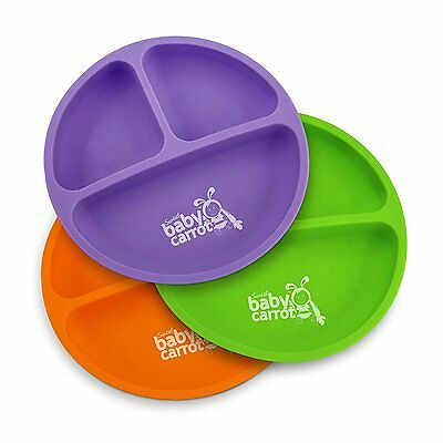 NEW Sweet Baby Carrot Toddler Plates (3 pack) BPA, Phthalate Free Silicone.