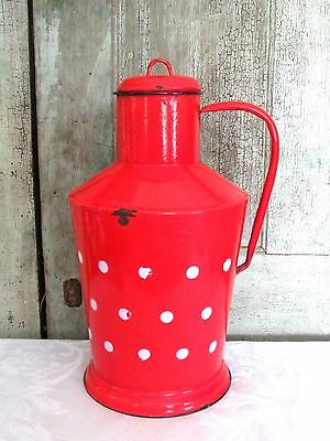 Old Antique LG Red & White Polka Dot French Enamelware Milk Cream Pot w lid