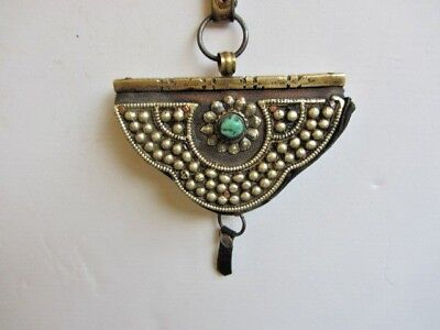 Antique Tibetan Leather Silver Metal Flint Pouch Purse