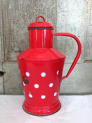 Old Antique Medium Red & White Polka Dot French Enamelware Milk Cream Pot w lid