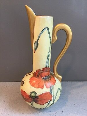Antique Vintage Art Nouveau Hand Painted Gilded Art Pottery Ever Pitcher