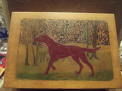 Vintage Folk Art Box - Hand Painted & Hand Carved - Nice Condition