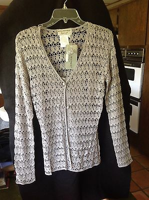 Papell Boutique 2 Piece Grey Crochet Evening Sweater Set Rayon Size M