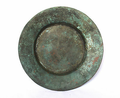 1700's Original Antique Islamic Ottoman Copper Plate W/ Hand-engraved Decoration