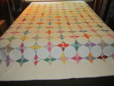 Vintage 1930s/40s Beautiful Hummingbird Star Cotton Feedsack Quilt Handsewn XLNT