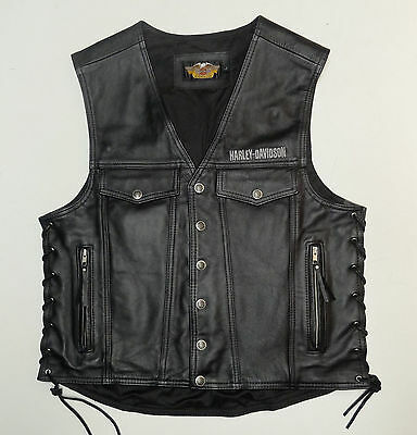 Harley Davidson Piston Style Thick Leather Vest Mens Large Lg  97148-99Vm    117