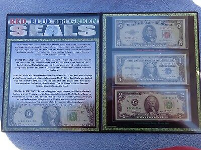 Red, Blue and Green Seals US Federal Reserve Notes set