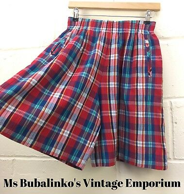 Vintage 90s Red Plaid Check High Waist Shorts Size 8 10 Boho Ibiza Festival