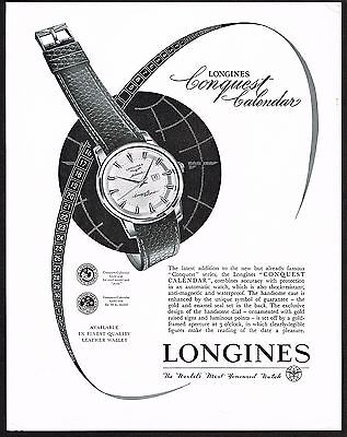 1956 Vintage Longines Watch Co. Conquest Calendar Watch Art Print Ad