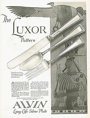 1920's BIG Vintage Alvin Luxor Pattern Silver Silverware Egyptian Art Print Ad b