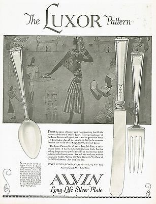 1920's BIG Vintage Alvin Silver Luxor Pattern Silverware Egyptian Art Print Ad