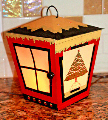 Vintage 1960's Electric Lighted Christmas Lantern With 4 Panels