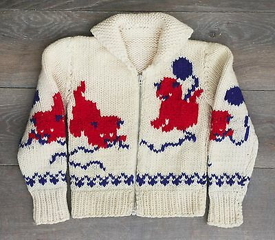 Vintage 80s child sweater cowichan style kittens yarn toddler handmadE zip front
