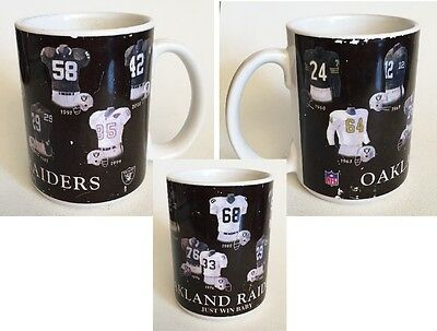 One Vtg Oakland Raiders Years of Jerseys Mug Cup Promotional Souvenir NFL