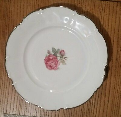 Hutschenreuther #8158 BELROSE Cake/Lunch Plate Cup Trio Pink Rose Sylvia PASCO