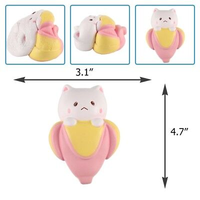 """Anboor 4.7"""" Squishies Jumbo Slow Rising Kawaii Scented Soft Banana Cat Toy For K"""