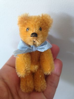 """Rare Antique Vintage Miniature 3.5"""" Mohair Schuco Orange Bear Fully Jointed Nr"""