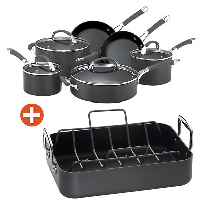NEW Anolon Endurance+ 6 Piece Cookware Set with Free Roaster and Rack Induction