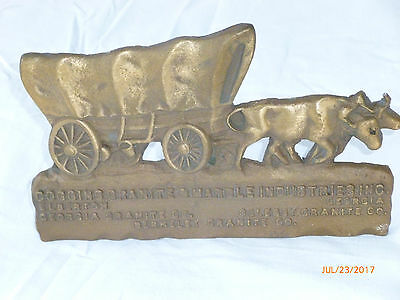 Standing Advertising Brass Plaque  Oxen Pulled Covered Wagon/ 7x4.5 in