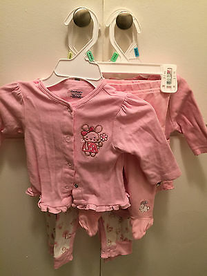 Girl top and pant, pink 0-3 months mouse detail