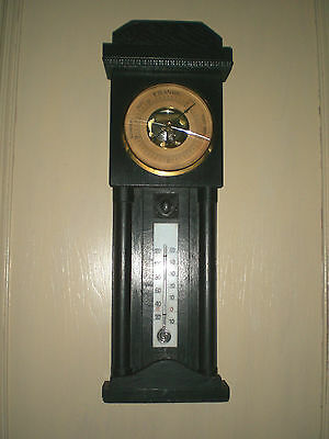 Ebonized OAK Wall BAROMETER THERMOMETER ANTIQUE / WORKS