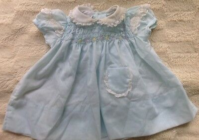 Vintage Polly Flinders baby girl hand smocked dress size 0-3 mo.