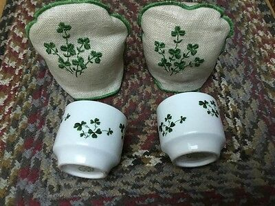 Carrigaline Pottery Co. Ltd Egg Cups Set Of 2 w/Embroidered Linen Cozier