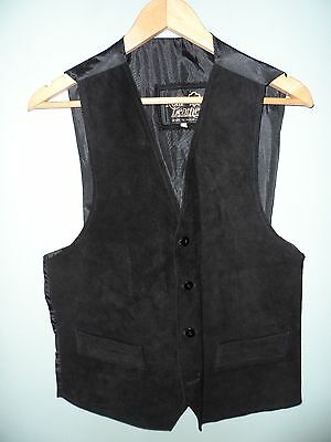 English Made Black Suede Leather Waistcoat - Size M