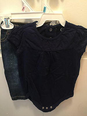 Girls Jeans and navy cotton top 6 months