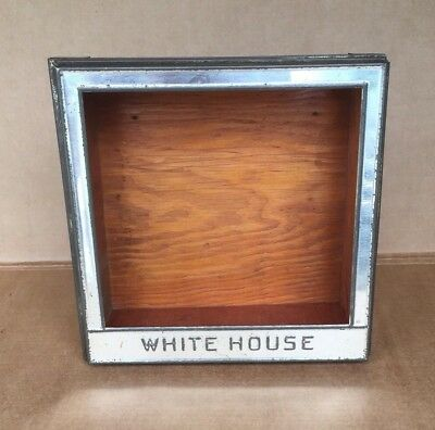 Vintage WHITE HOUSE Biscuit Tin Top Wood Box Metal Store Counter Display