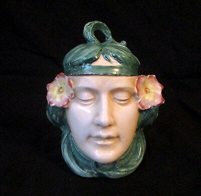 antique French Porcelain Art Nouveau period Humidor Lady with flowers