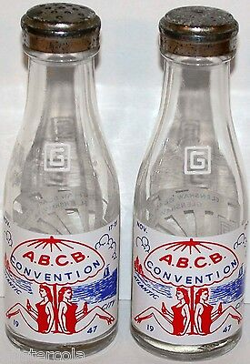 Vintage salt and pepper shakers ABCB CONVENTION 1947 Atlantic City grilies pic