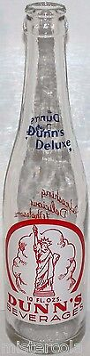 Vintage soda pop bottle DUNNS DELUXE 3 color Statue of Liberty Sedalia MO n-mint