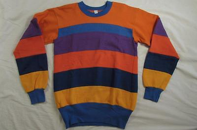 Vtg 60s 70s Multicolor Striped Sweatshirt USA Made Mod Border Surf USA Made Sz M