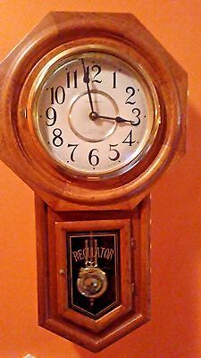 Classic REGULATOR Manor Solid Oak Schoolhouse Wall Clock, Westminster Chimes $55