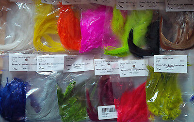 """Strung Saddle Hackle, Small Bags, 6-8"""", Assorted Colors"""