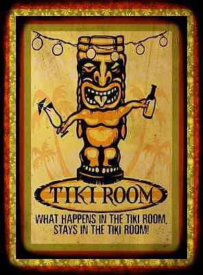 *what Happens In The Tiki Room* Made In Hawaii Metal Sign 8X12 Aloha Luau Bar