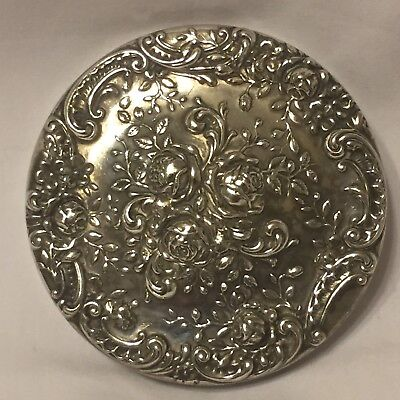 Gorham Sterling Silver Pocket Mirror Ornate Flowers Roses
