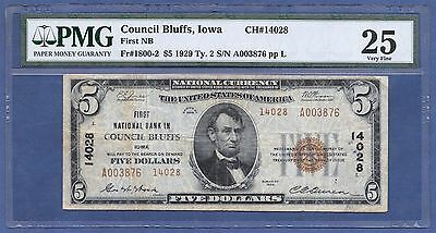Ia 1929 $5  Type-2 ♚♚ Council Bluffs, Iowa ♚♚ Pmg Vf 25  Hard To Find!!!
