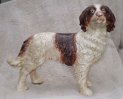 Cast Iron Brittany Spaniel Dog Statue From Old Hubley Molds 2.5 ''x 9.5''x 7.5''