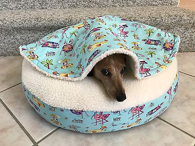 NEW Dachshund Small Dog Bed Snuggle Bed for Burrowing Dogs Comical Pink Flamingo