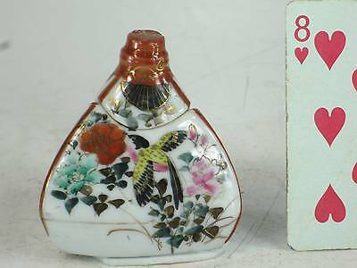 Antique Japanese Satsuma Bird Floral Honey Jar Pot Dipper Dispenser Signed 1800s
