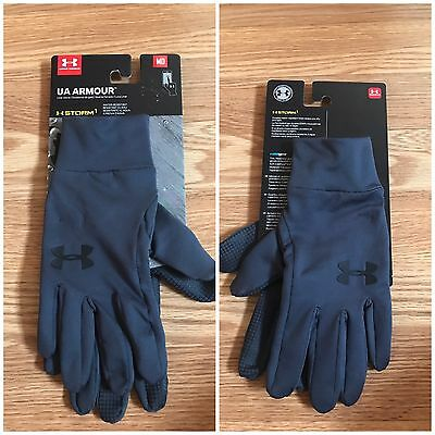 Under Armour Storm Cold Gear Unisex Stealth Gray Size M Liner Gloves 1282763 NWT